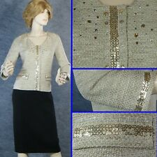 EXQUISITE ST JOHN SHIMMER KNIT LINED JACKET W/ CRYSTALS & SEQUINS SZ 6 EVENING