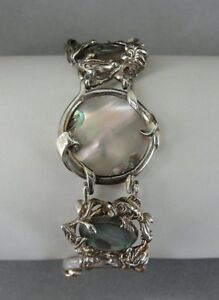 Vintage Fish Accents Abalone Stones Round Discs Sterling Silver Link Bracelet