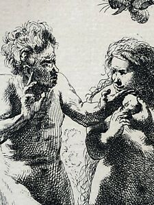 Adam & Eve Etching Rembrandt Re-strike by Amand Durand