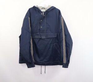 Vintage 90s Gap Mens Medium Lined Pullover Hooded Anorak Jacket Striped Blue