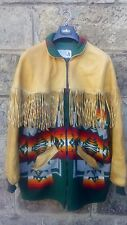 Men's Vtg Montana Native American Navajo Leather/Wool Blanket Fringe Jacket Med