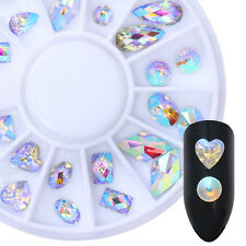 AB Color 3D Nail Art Decoration in Wheel Marquise Heart Rhinestone Flat Bottom