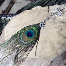 Peacock Feather Dread Bead Silver Leaf  Charm Handmade 6mm Hole Dreadlock Jewels