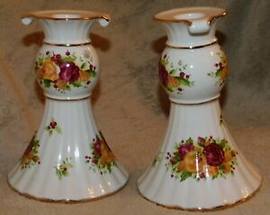 ROYAL ALBERT - OLD COUNTRY ROSES HOLIDAY - RARE FLUTED CANDLESTICKS - NEVER USED
