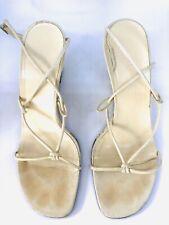 Ralph Lauren Beige Suede Leather Wedge Sandals Size 8