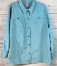 LIZ& ME Catherines Suede-Look Shirt Jacket SIZE 2X  22/24 Aqua Blue Long Sleeve