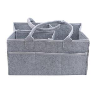 Gray Felt Baby Diaper Holder Bag Tote Large Capacity Nursery Storage Bins SG