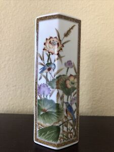 Antique Japanese Kutani Porcelain Vase Hexagon Flowers Birds Japan