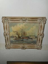 Old oil painting,{ Harbor view Rotterdam, signed, Adrie Verveen, ( 1912- 1988) .