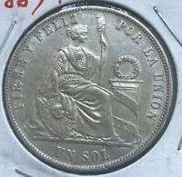 1869 YB Peru 1 One Sol - Nice Condition