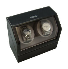 Heiden Battery Powered or AC Dual Watch Winder - Black Leather Double HD0010