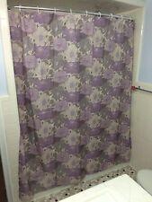 Purple Lavender Poppy Flower Floral Bathroom Fabric Shower Curtain & Hooks Decor