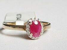 9CT GOLD RUBY AND DIAMOND ACCENT CLUSTER RING Sizes available K,N (RRP £230)