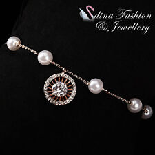 18K Rose Gold Plated Simulated Pearl & Diamond Exquisite Round Pendant Bracelet