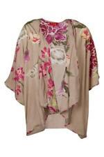Rene Derhy Brand Beige Floral Sequin Print Short Sleeve Cape Size XL BNWT #SA32