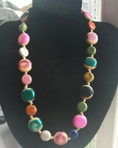 """20""""-24"""" Coin rainbow Chinese ceramic beaded,wood knotted necklace,Rope A5"""