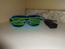 Frame Neon El Wire LED Light Up Shutter Glasses Two Colors Controller Blue Green