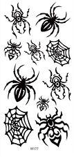 US SELLER, Halloween men women black spider web temporary tattoo temporary body