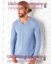 Polyester V Neck Patternless Long Sleeve T-Shirts for Men