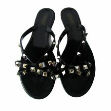 Ann More Black with Gold Tone Studs Jelly Sandals Size 40 (US 9.5)