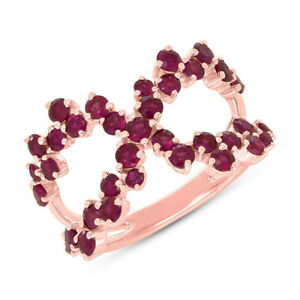 Natural 1.75 CT 14K Rose Gold Round Cut Ruby Gemstone Crossover X Cocktail Ring