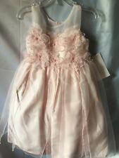 Isobella and Chloe Girls Light Pink Flower Appliqué Empire Dress Size 4-New