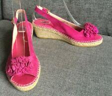 Clarks Sandals 5 D Hot Pink Espadrille Mid Heel Wedge Summer Holiday Suede