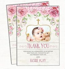 Baptism Thank You Card Pink Gold Floral Christening Shabby Chic Roses Flowers