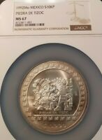 1992 MEXICO SILVER 10,000 PESOS NGC MS 67 HIGH GRADE LOW MINTAGE SCARCE COIN !!