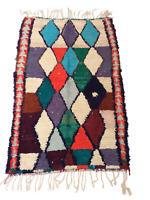 Handmade Moroccan Berber Boucherouite Kilim Beni Area Rag Rug 5'6 x 3'6