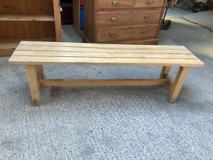Natural Brown Pine Slatted Bench Seat