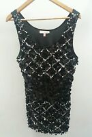 Dress Size 14 Miso Black Sequin Silver Party <J1783