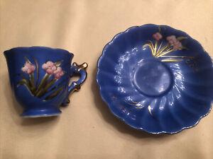 Vintage Occupied Japan Blue And Pink Floral Demitasse Cup And Saucer