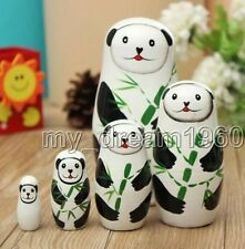 CHINA SET 5PCS PANDA RUSSIAN STACKING NESTING DOLLS Children Toys Decoration