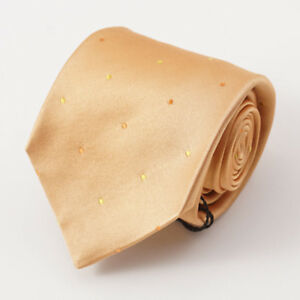 New $295 KITON NAPOLI Gold Satin Silk Tie with Dot Pattern Handmade