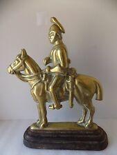 LARGE HEAVY VINTAGE BRASS & CAST IRON GUARDSMAN ON HORSE DOORSTOP