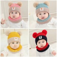 Winter Baby Kids Toddler Girl Boy Knitted Cap Warm Beanie Hat with Scarf Set