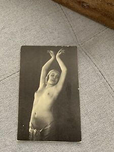 Vintage 1920s Nude French RPPC Real Photo Litho Postcard Art Deco Flapper Risqué
