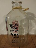 Vintage 1/2 Half Gallon Milk Bottle Valley View Dairy Northampton PA Paul Butz's