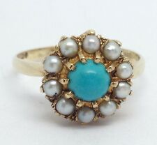 9ct gold Turquoise Pearl Cluster ring UK size P 1/2, London hallmark 1970.