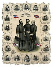Confederate Heroes Robert E. Lee Stonewall Jackson JEB Stuart Civil War Print