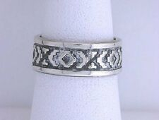 .925 Solid Sterling Silver Band Custom Antiqued Southwest Native Ring Size 6.75