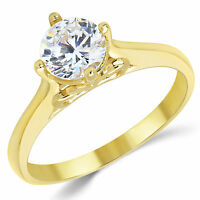 14K Solid Yellow Gold CZ Cubic Zirconia Solitaire Engagement Ring