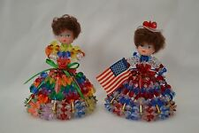 Vintage Dolls Lot of 2 Beaded Safety Pins Handcrafted