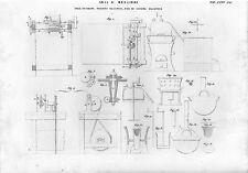 Stampa antica TELE CERATE TESSUTI ELASTICI FILI IN GOMMA attrezzi 1848 Old print