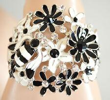 BRACCIALE rigido donna bracelet smaltato floreale BiancoNero cristalli e strass