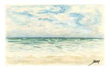 Aquarelle originale sur papier canson marine la mer J.Lucas