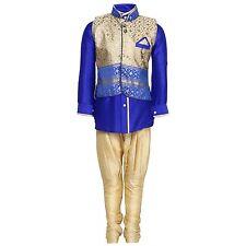 Indian ethnic wear Kids Kurta Pyjama and Waistcoat Set for Boys Blue 2T Or 4T