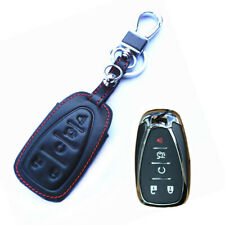 For Chevrolet Equinox 5 Buttons Remote Fob Bag Holder Leather Car Key Cover Case
