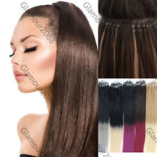 """Double Drawn 16""""-26""""Micro Ring Loops Beads Tip Remy Human Hair Extensions Ombre"""